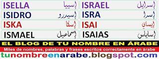 nombres escritos en arabe: ISELLA ISIDRO ISKA ISMAEL
