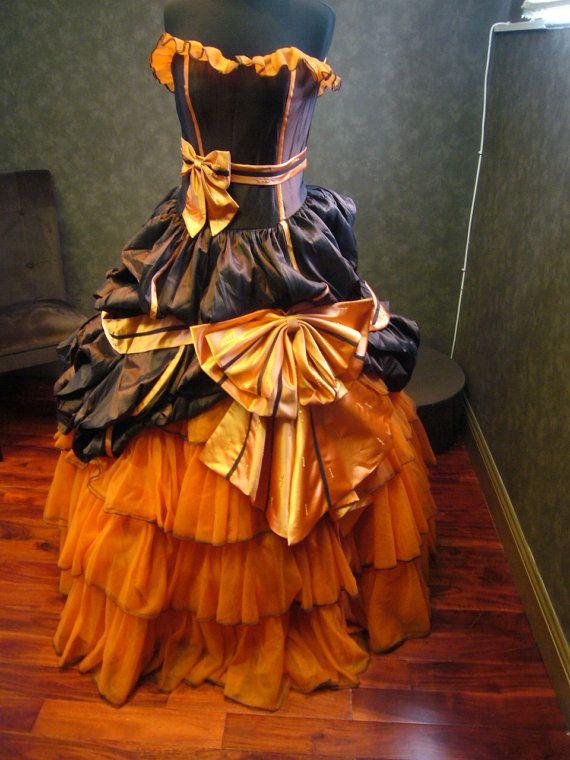 Halloween Wedding Dress in Orange and Brown by WeddingDressFantasy.com
