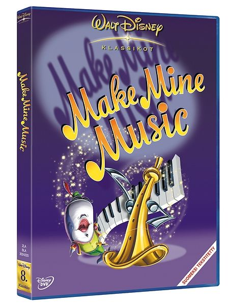 Make Mine Music -dvd (Iskelmäparaati). Kiehtovissa lyhytelokuvissa nähdään, miten Walt Disney toteutti visionsa mielikuvituksellisten tarinoiden ja musiikin yhdistämisestä.