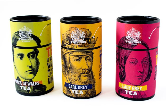 """""""This team project involved rebranding the well established Twinings Tea. We wanted to branch out to a younger demographic (young adults, working professionals) and chose to create that appeal through humor. We were inspired by dry British humor, and created a set of characters from an existing line of teas from Twinings. The concept was to """"get into the head"""" of each of the characters, and so the cylindrical container lifts off, giving you a quip printed on each tea bag."""""""
