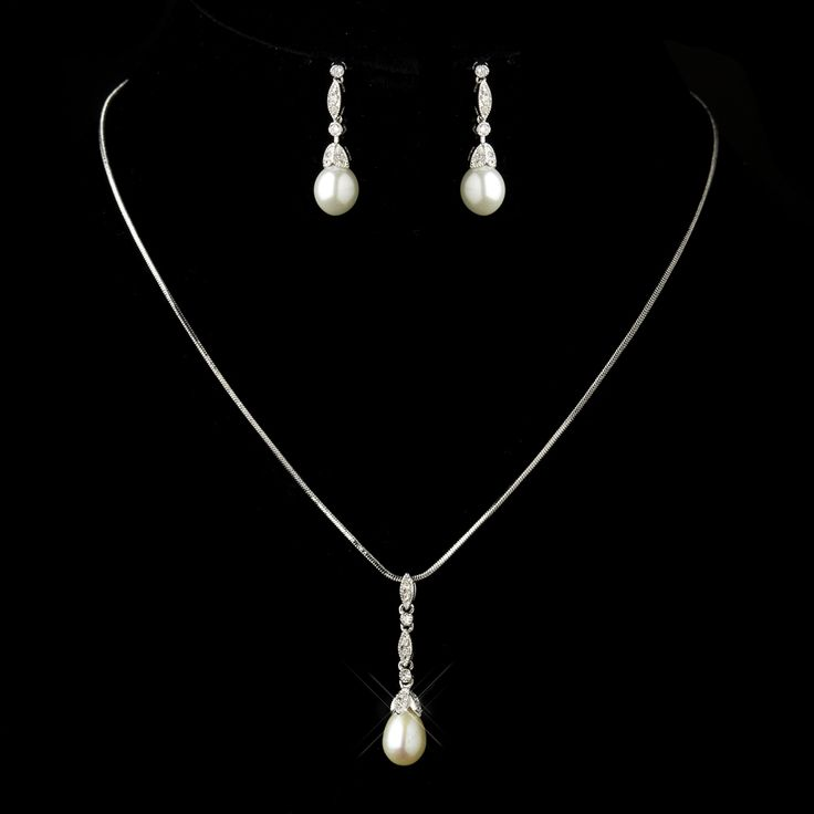 Beautiful Diamond White Pearl and CZ Antique Silver Bridal Jewelry Set - Affordable Elegance Bridal -