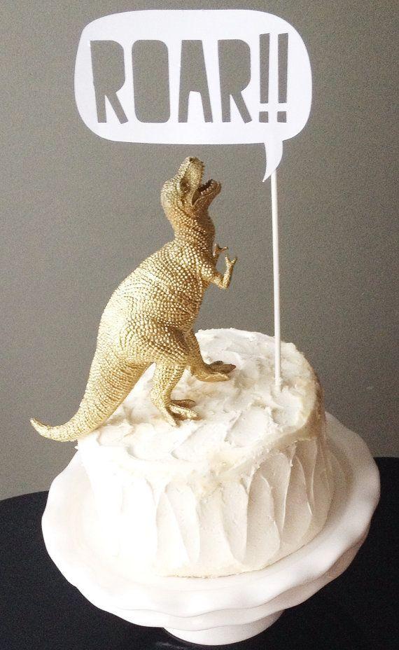 Cake Topper - Gold Dinosaur with ROAR Talking Bubble
