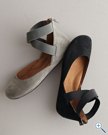 Gentle Souls Bay Unique Ankle-Wrap Ballet Flats - grey...I kind of like these. Maybe because I wanted for so long to be a ballerina... :)