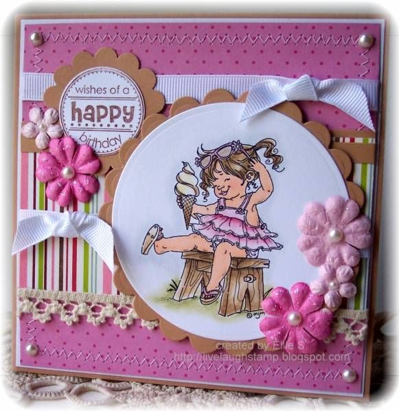 Ribbon and Lace and pink and girly by Ellibelle - Cards and Paper Crafts at Splitcoaststampers