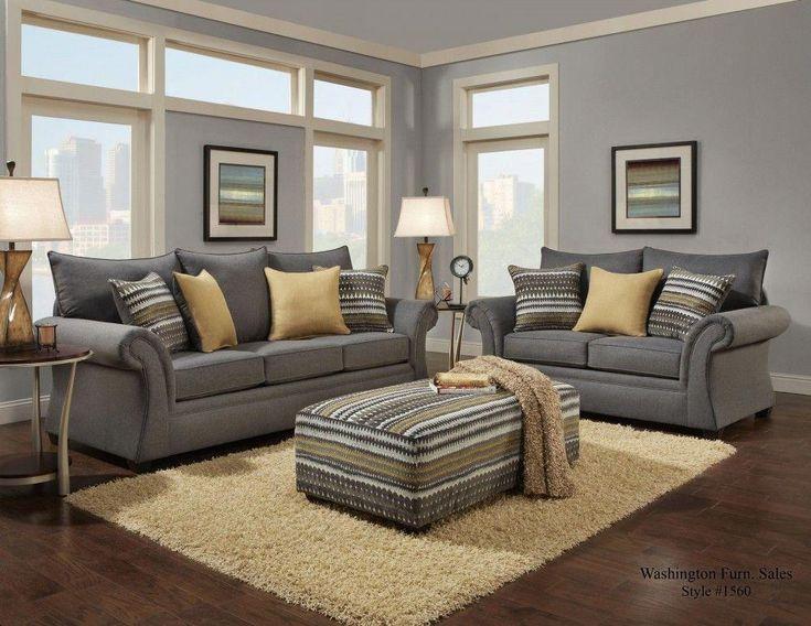 1560 Jitterbug Gray Sofa & Loveseat #livingroomdecor
