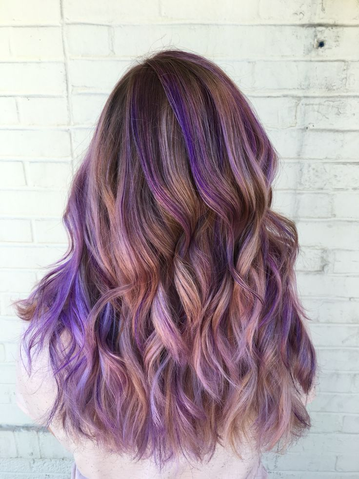 P U R P L E B A L A Y A G E Hairwaytokale My Hair This Summer Thank Purple Highlights Brown Hair Purple Blonde Hair Purple Hair Highlights