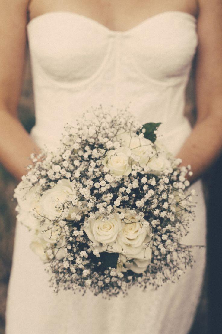 Gypsophilia and white roses wedding bouquet. I Got You Babe Wedding Photography