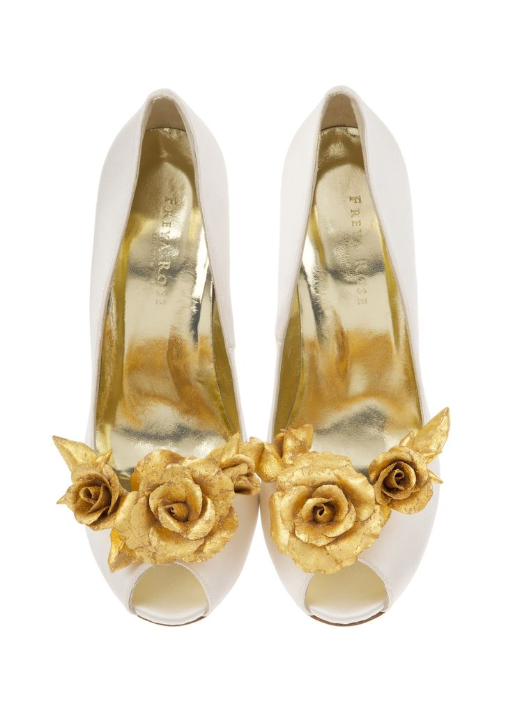 Handcrafted clay rose shoe clips hand gilded with real gold-leaf. From the 'Lila for Freya Rose' collection, available from www.freyarose.com