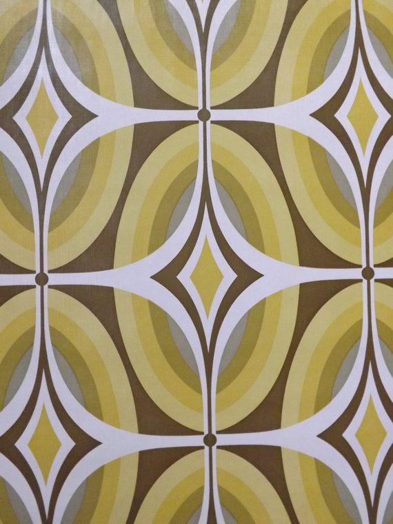 Retro Wallpaper 70s geometric funky yellow green mustard by mumxie
