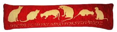 Cat Draught Excluder In Chenille Red