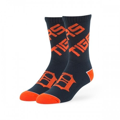 MLB 47 Brand Detroit Tigers Helix Moisture Wicking Sock-Navy