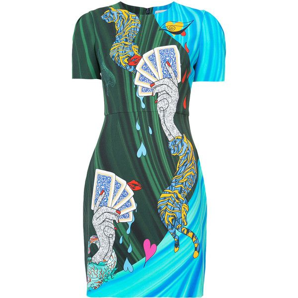 Mary Katrantzou card print T-shirt dress ($2,085) ❤ liked on Polyvore featuring dresses, blue, multi-color dresses, multi print dress, blue t shirt dress, green t shirt dress and green tee shirt dress