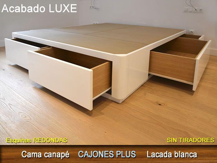 Cama canapé modelo CAJONES PLUS acabado LUXE color blanco brillo, sin tiradores