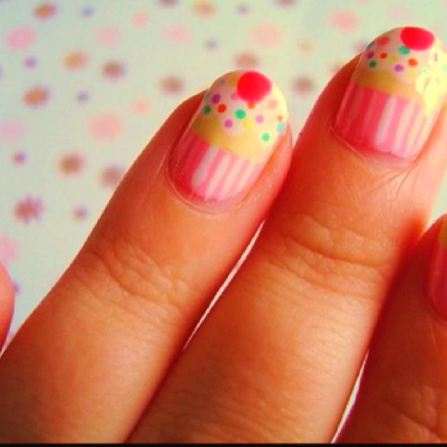 Cupcake nails!Cake Cupcakes Cookies, Birthday Nails, Cupcake Nails, Hair Nails, Nails Polish, Cupcakes Nails, Cupcakes Fingernail, Cupcakes Cutie, Cupcakes Rosa-Choqu
