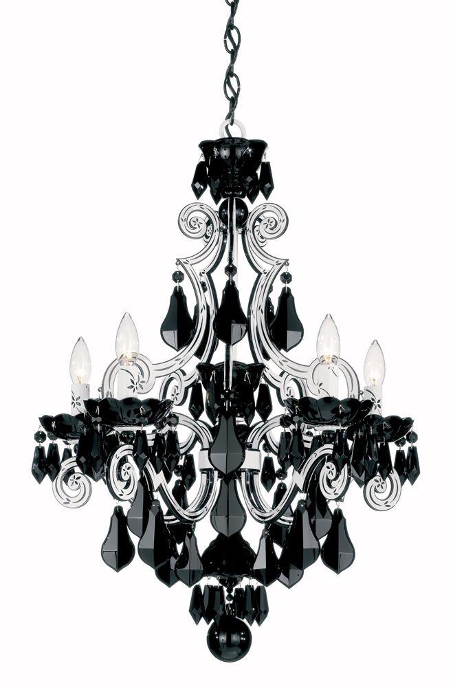 Cela 5 Light Chandelier Shown In White By Schonbek 6735