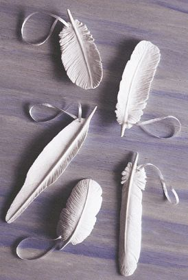 Diy clay feathers -- Make large and turn into inscent holder