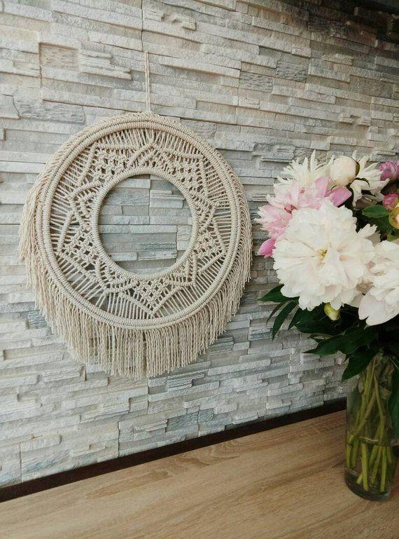 Round macrame wall hanging, Hoop macrame, Macrame mandala, Centerpiece, Circle macrame, Macrame Wreath, Bohemian decor, Home decor, Wreath