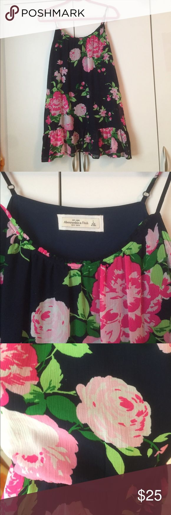 Floral printed navy sheer Abercrombie dress Floral printed navy sheer Abercrombie dress, just like the white one has NEVER BEEN WORN and is in PERFECT CONDITION!!!!! Abercrombie & Fitch Dresses Mini
