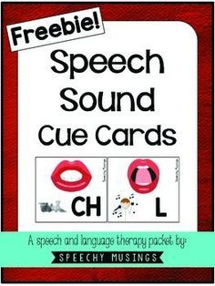 Free! Speech Sound Cue Cards