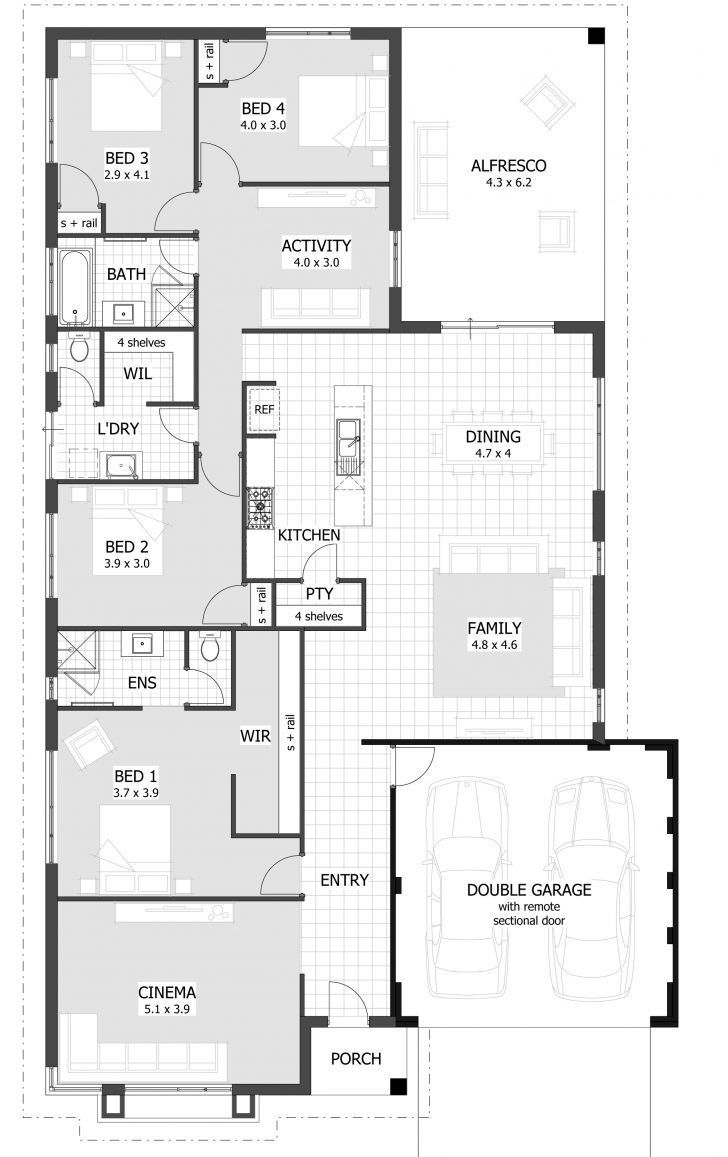 10 Modern Contemporary Ranch House Ideas 4 Bedroom House Plans House Floor Plans Floor Plans