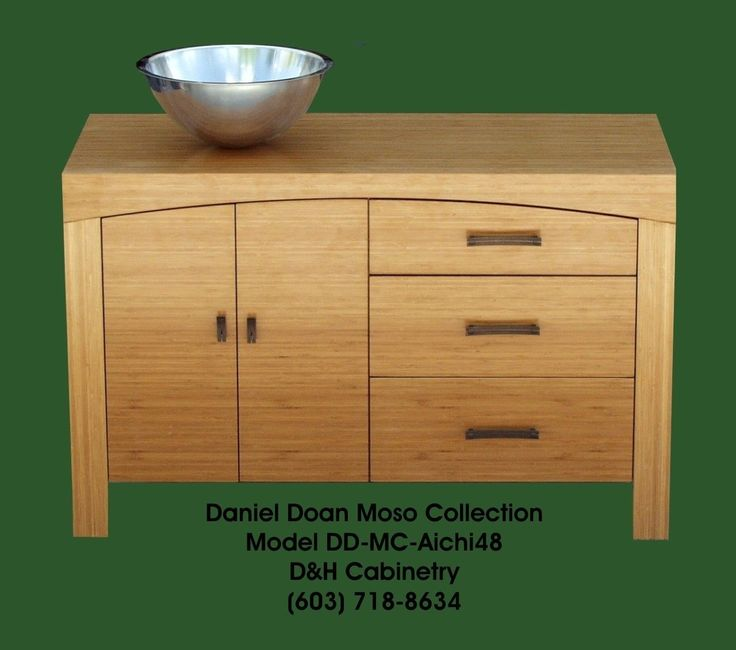 "Dallas Bathroom Vanities: 48"" Solid Bamboo Modern Bathroom Vanity / Entertainment"