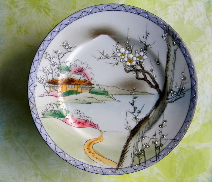 Hand Painted Plates : Antique signed hand painted japan kutani porcelain plates