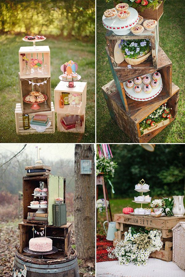 wooden crates sweet table