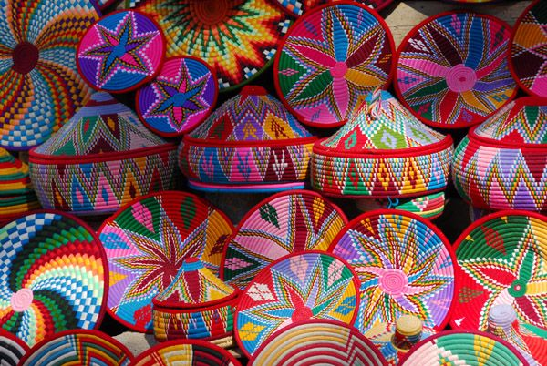 Ethiopian baskets on sale next to the Archaeological Museum, Axum in Egypt. Picture by Brian McMohon
