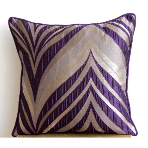 Designer Purple Pillow Cases 16x16 Jacquard by TheHomeCentric