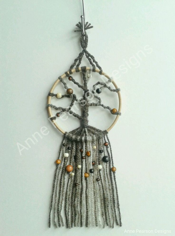 "Newest piece made to replace an old dreamcatcher in our motorhome. Love these tree wall hangings & although not made as dreamcatchers they lend themselves beautifully to this. 100% pure wool on a 5"" beech hoop & enhanced with a variety of coloured wooden beads. #macramé #wallhanging #treeoflife #dreamcatcher #handcrafted #modernmacramé"