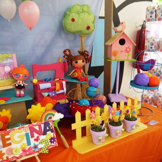 Such cute Lalaloopsy birthday party decorations! See more party ideas at CatchMyParty.com. #girlbirthday #birthdaydecorations #lalaloopsy