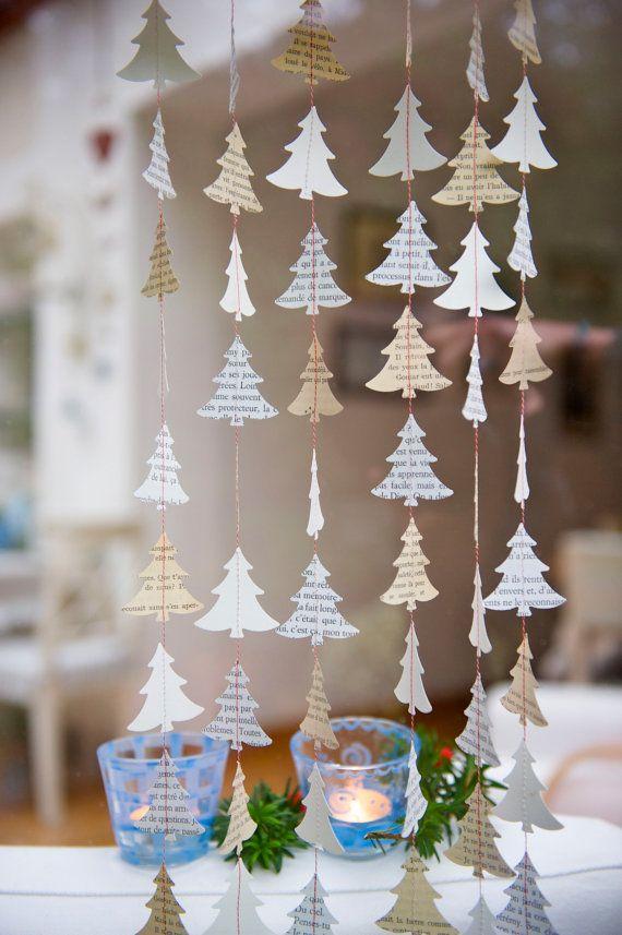 Kerst Garland, venster kerstversiering, rustieke Christmas decor, Christmas tree, papier garland, papier mobiele, vakantie decor, Frans