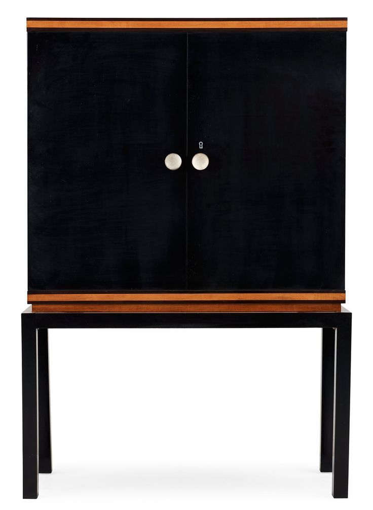 An Otto Schulz stained birch and mahogany cabinet, by Boet, Sweden 1930s.  Height 144 cm, width 95 cm, depth 40 cm.