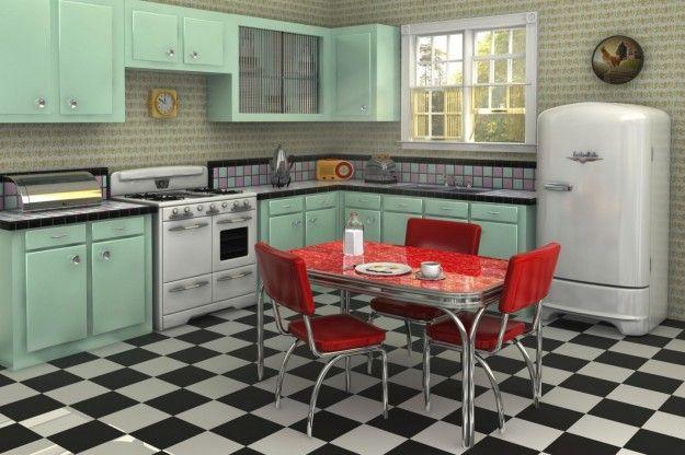 Progetto per una cucina vintage - Cucina vintage dai colori pastello con pavimento a scacchi.