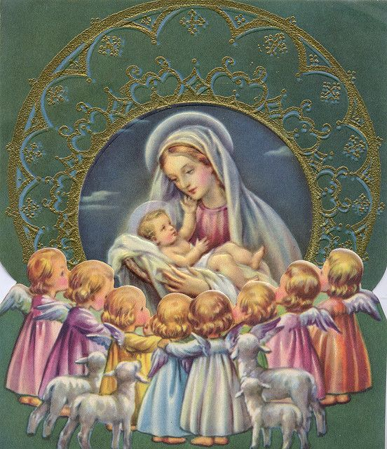 Baby Jesus with His Mother, Mary ~ Heaven's angels & the Shepard's sheep gather to greet their tiny Lord