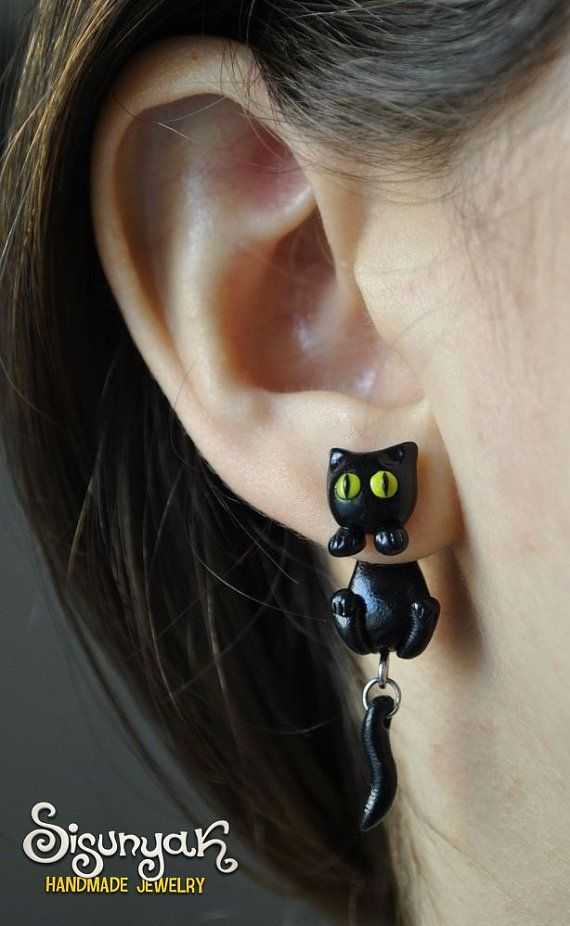 Black Cat Clinging Earrings  Kuroneko  Trigun by Sisunyak on Etsy, $12.00