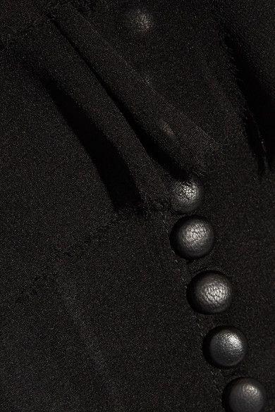 Magda Butrym - Vigo One-shoulder Ruffle-trimmed Silk-chiffon Blouse - Black - FR