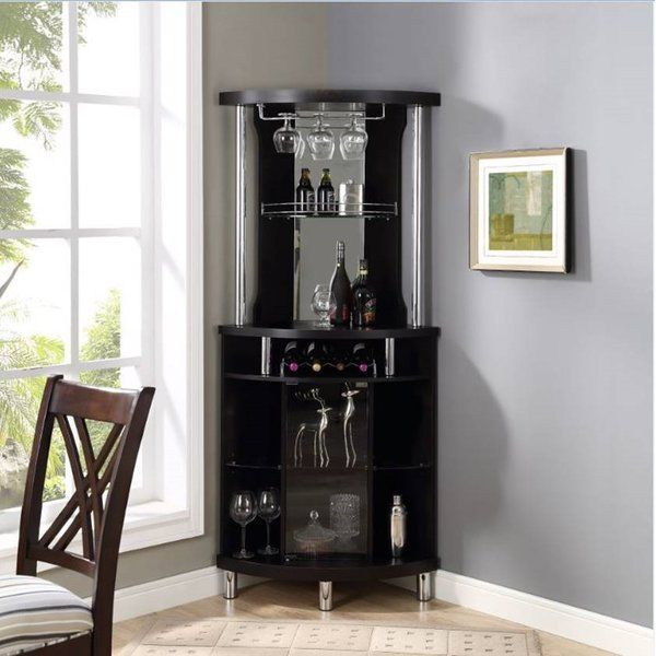 Mahogany Corner Arms Bar with Wine Storage