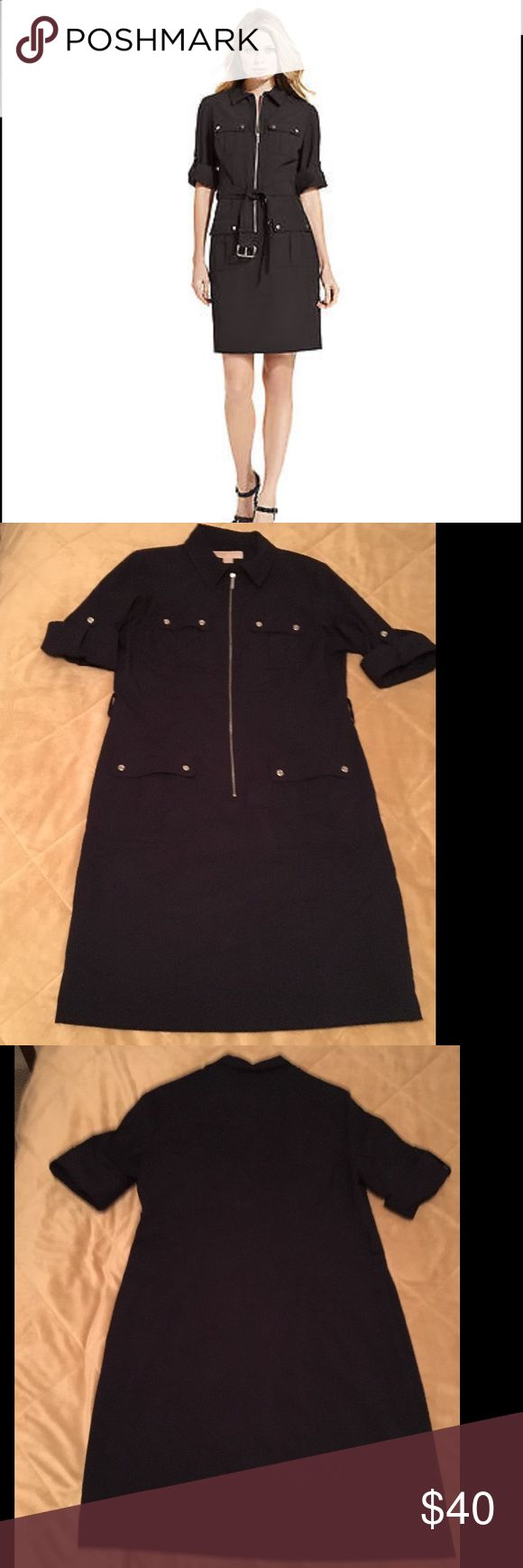 Michael Kors Zip Front Dress Dark Navy (almost black) MK dress.  Zip front.  Rolled sleeves.  Front pockets.  Sorry, no belt.  EUC. Michael Kors Dresses Midi