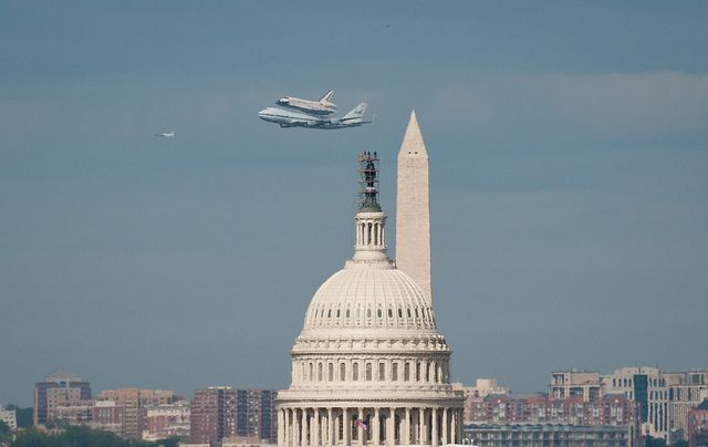 Space Shuttle Discovery DC Fly-Over (201204170045HQ) by nasa hq photo, via Flickr    This photo of the space shuttle being taken to a museum makes some sort of statement about the state of science in our country.  Not sure exactly what.