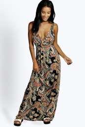 Araminta Slinky Paisley Print V neck Maxi Dress