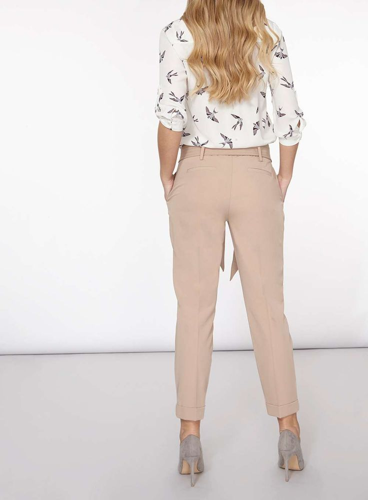Womens Stone Top Stitch Tie Tapered Trousers- Beige