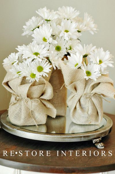 Burlap Flower holders - center peices OR take home favors!!! they can take them…