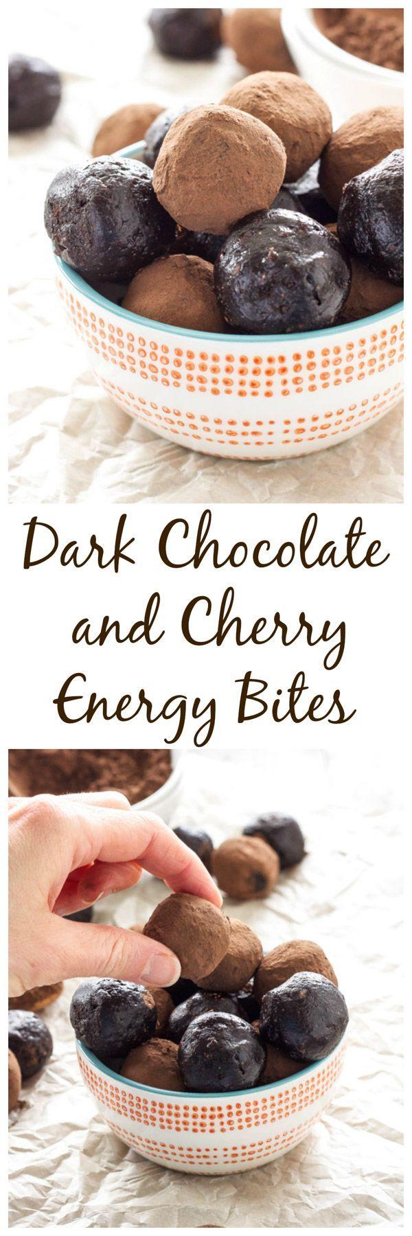 Dark Chocolate and Cherry Energy Bites | Vegan, gluten free, and paleo energy bites that taste just like brownie batter! | www.reciperunner.com