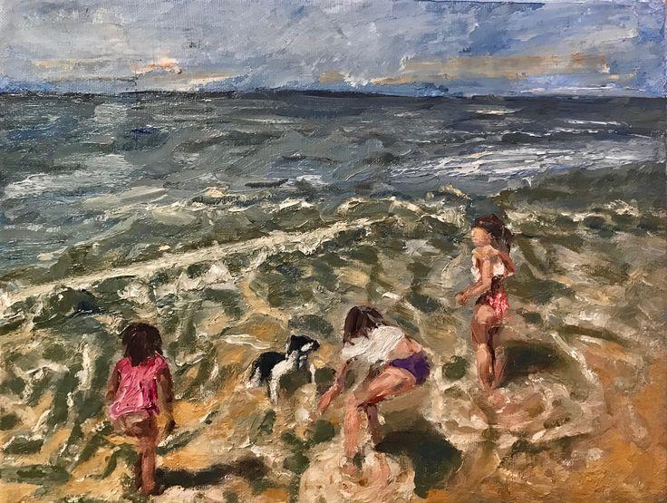 Oil painting on canvas board, 'Drie spelende kinderen en Joep'