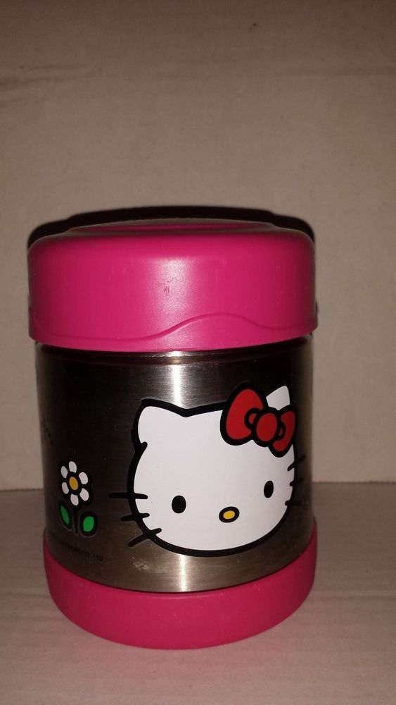 HELLO KITTY METAL THERMOS WITH PLASTIC LID AND BOTTOM
