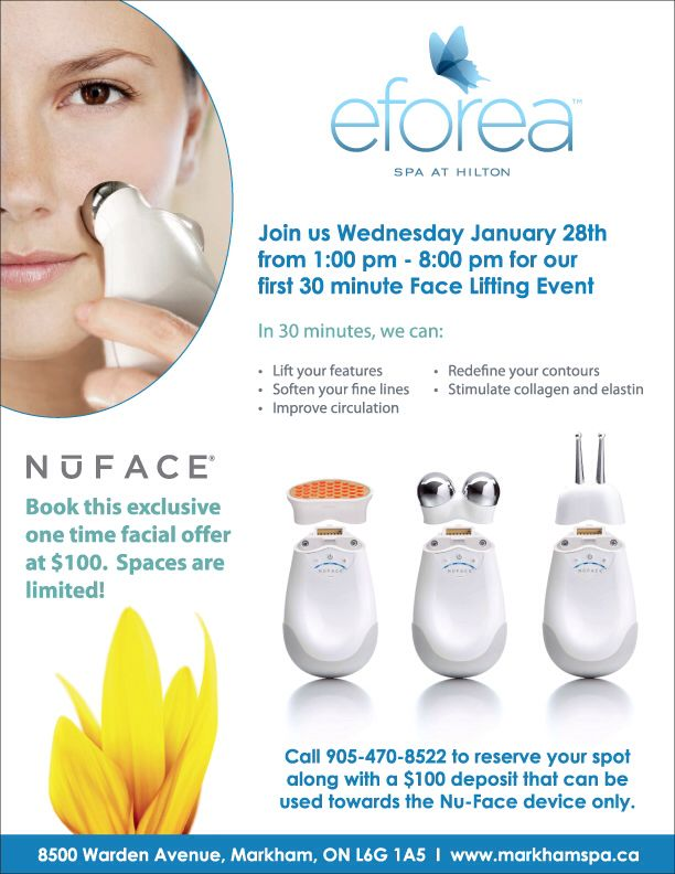 Join us for our first NuFace Lifting Party on Wednesday January 28th! Call 905.470.8522 to reserve your spot. #NuFace #skincare #advancedskincare #antiaging #Facial #lifting @mynuface #spa #markham #eforea #eforeaspa #eforeamarkham