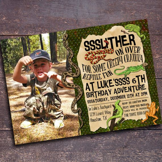 Hey, I found this really awesome Etsy listing at https://www.etsy.com/listing/252041317/reptile-party-invitation-boys-birthday