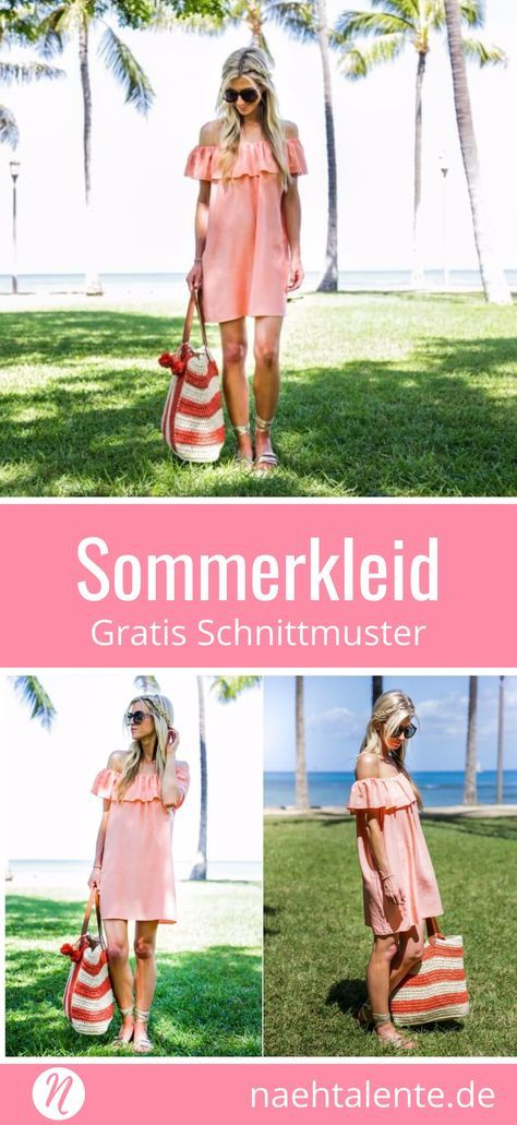 Free pattern summer dress in trendy off-shoulder look. Easy to sew …   – Nähliebe