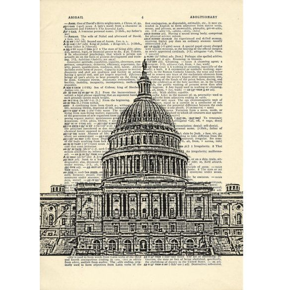 Washington DC Dictionary art vintage capitol building architecture on Upcycled Vintage Dictionary Paper